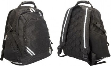 front and back of a black backcare backpack