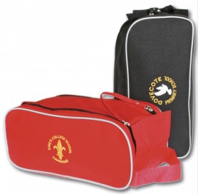 Red and black boot bags side  by side