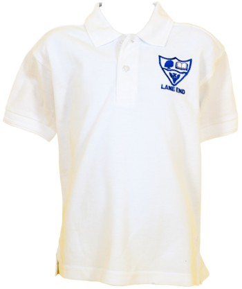 lane end school polo shirt white