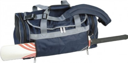 a navy senior holdall with a cricket bat on it
