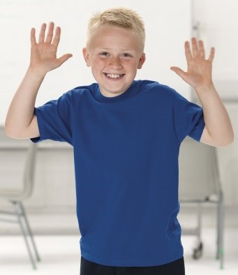 Picture of child wearing a blue t-shirt